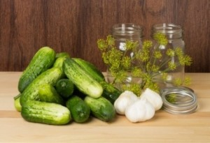 Cucumbers and dill canning